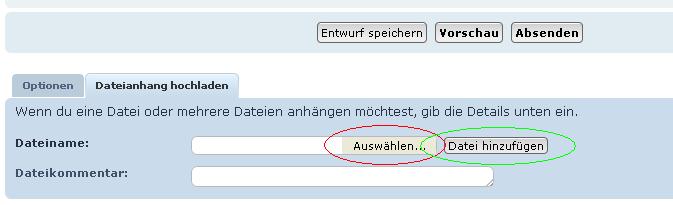 Dateiwählen (rot) und Upload starten (grün)